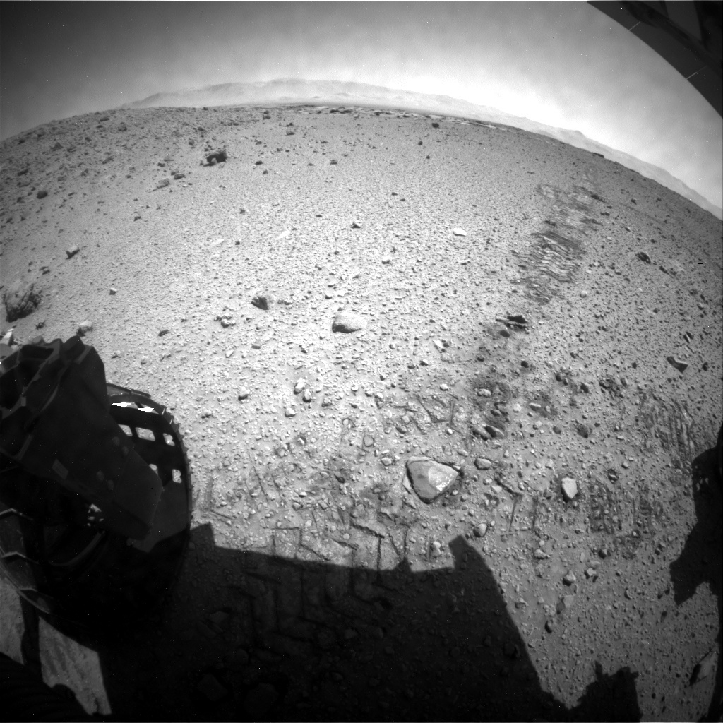 NASA's Mars rover Curiosity acquired this image using its Rear Hazard Avoidance Cameras (Rear Hazcams) on Sol 589