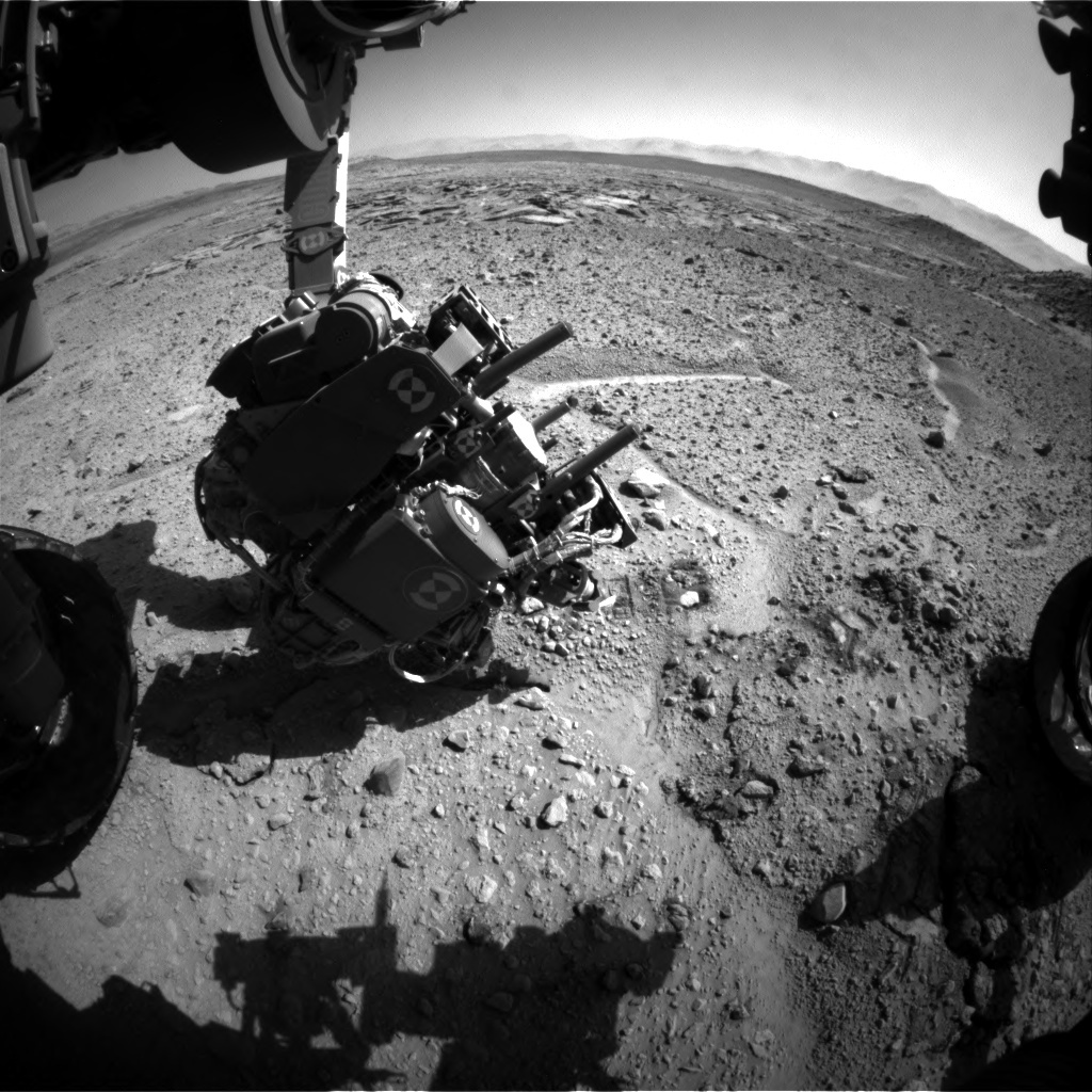 NASA's Mars rover Curiosity acquired this image using its Front Hazard Avoidance Cameras (Front Hazcams) on Sol 591