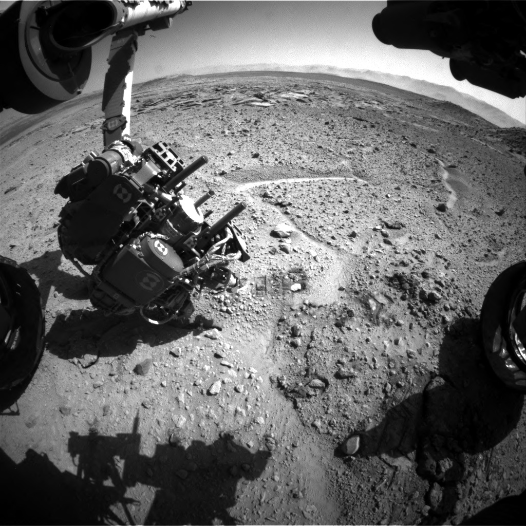 Nasa's Mars rover Curiosity acquired this image using its Front Hazard Avoidance Camera (Front Hazcam) on Sol 591, at drive 0, site number 31