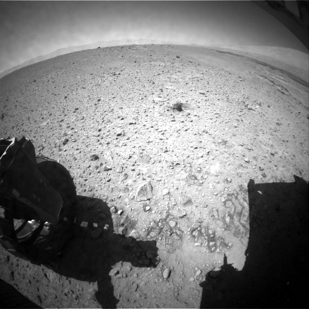 NASA's Mars rover Curiosity acquired this image using its Rear Hazard Avoidance Cameras (Rear Hazcams) on Sol 591