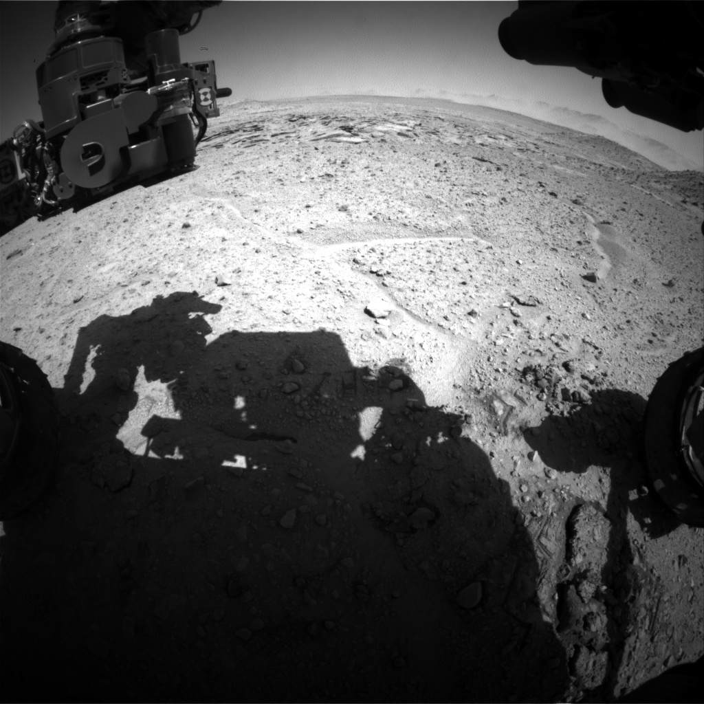 Nasa's Mars rover Curiosity acquired this image using its Front Hazard Avoidance Camera (Front Hazcam) on Sol 593, at drive 0, site number 31