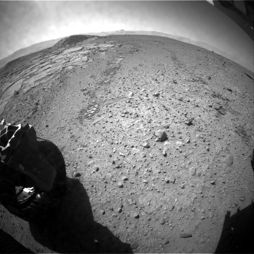 NASA's Mars rover Curiosity acquired this image using its Rear Hazard Avoidance Cameras (Rear Hazcams) on Sol 593
