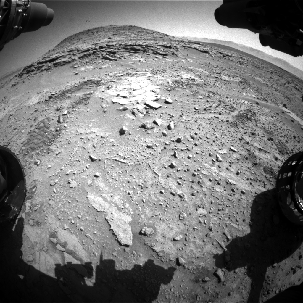 Nasa's Mars rover Curiosity acquired this image using its Front Hazard Avoidance Camera (Front Hazcam) on Sol 597, at drive 718, site number 31