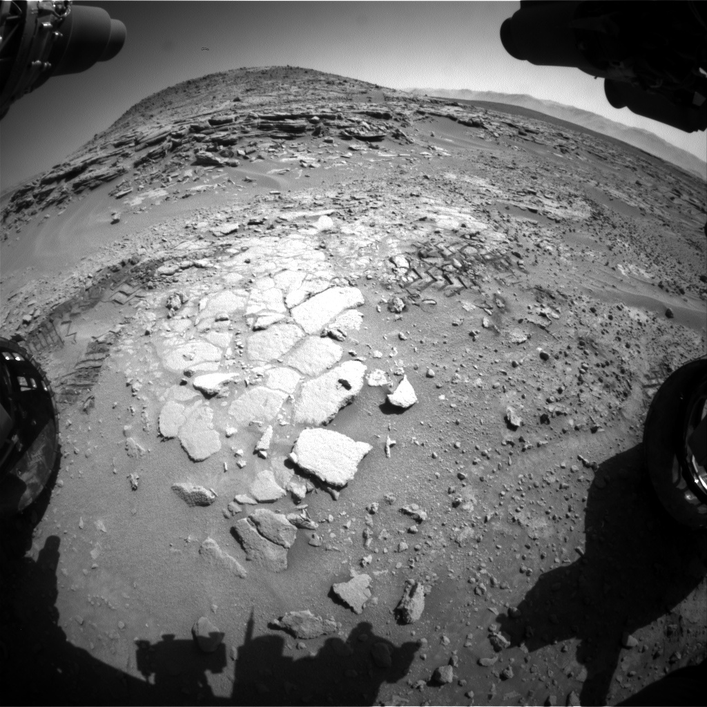Nasa's Mars rover Curiosity acquired this image using its Front Hazard Avoidance Camera (Front Hazcam) on Sol 597, at drive 724, site number 31