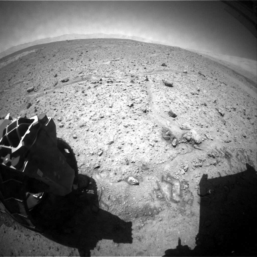NASA's Mars rover Curiosity acquired this image using its Rear Hazard Avoidance Cameras (Rear Hazcams) on Sol 597