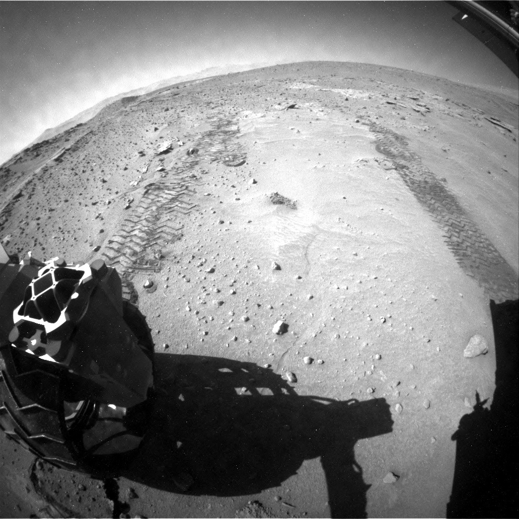 NASA's Mars rover Curiosity acquired this image using its Rear Hazard Avoidance Cameras (Rear Hazcams) on Sol 606