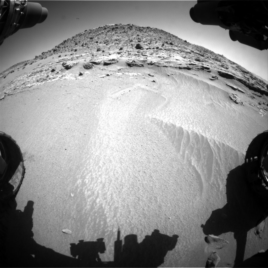 Nasa's Mars rover Curiosity acquired this image using its Front Hazard Avoidance Camera (Front Hazcam) on Sol 608, at drive 1256, site number 31