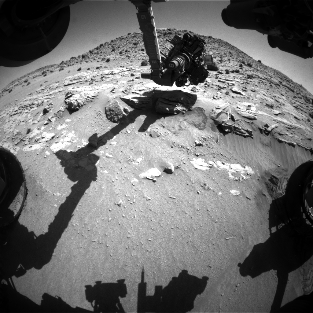 Nasa's Mars rover Curiosity acquired this image using its Front Hazard Avoidance Camera (Front Hazcam) on Sol 617, at drive 1330, site number 31
