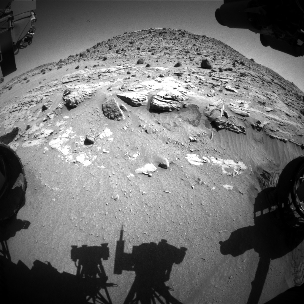 Nasa's Mars rover Curiosity acquired this image using its Front Hazard Avoidance Camera (Front Hazcam) on Sol 619, at drive 1330, site number 31