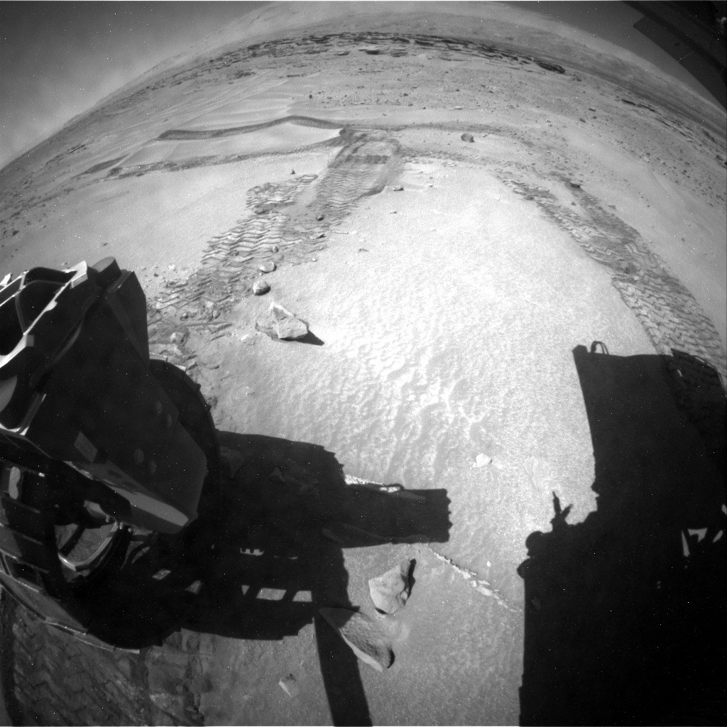 NASA's Mars rover Curiosity acquired this image using its Rear Hazard Avoidance Cameras (Rear Hazcams) on Sol 626