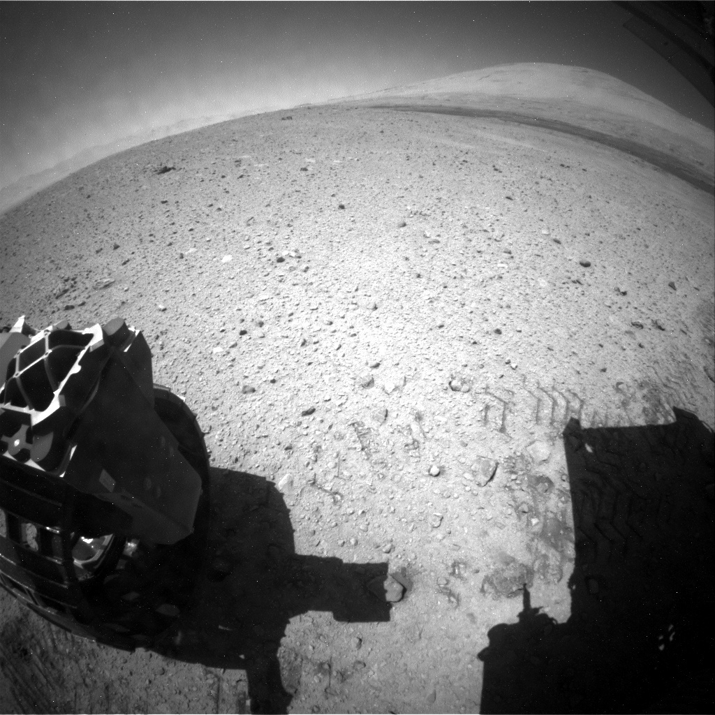 NASA's Mars rover Curiosity acquired this image using its Rear Hazard Avoidance Cameras (Rear Hazcams) on Sol 643