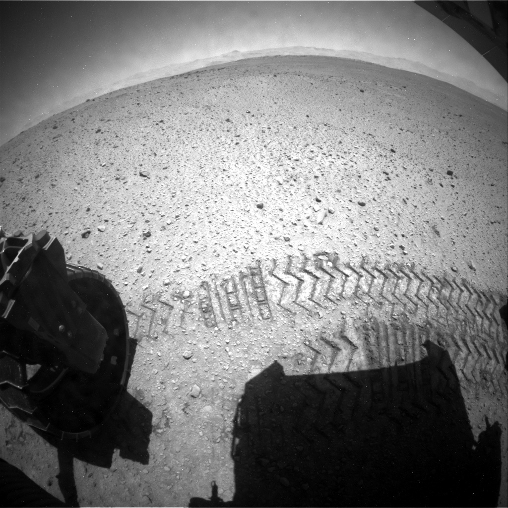 NASA's Mars rover Curiosity acquired this image using its Rear Hazard Avoidance Cameras (Rear Hazcams) on Sol 645
