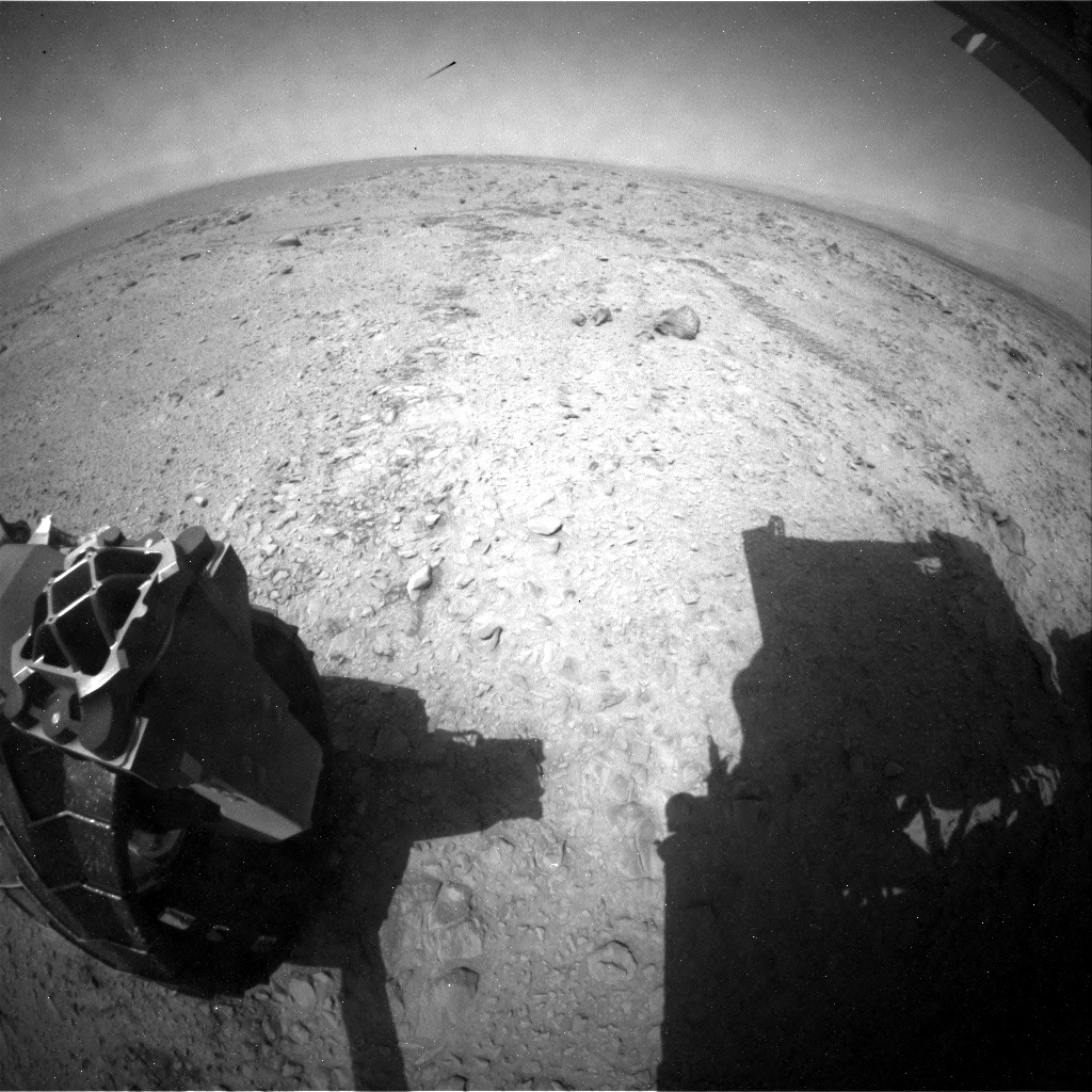 NASA's Mars rover Curiosity acquired this image using its Rear Hazard Avoidance Cameras (Rear Hazcams) on Sol 691
