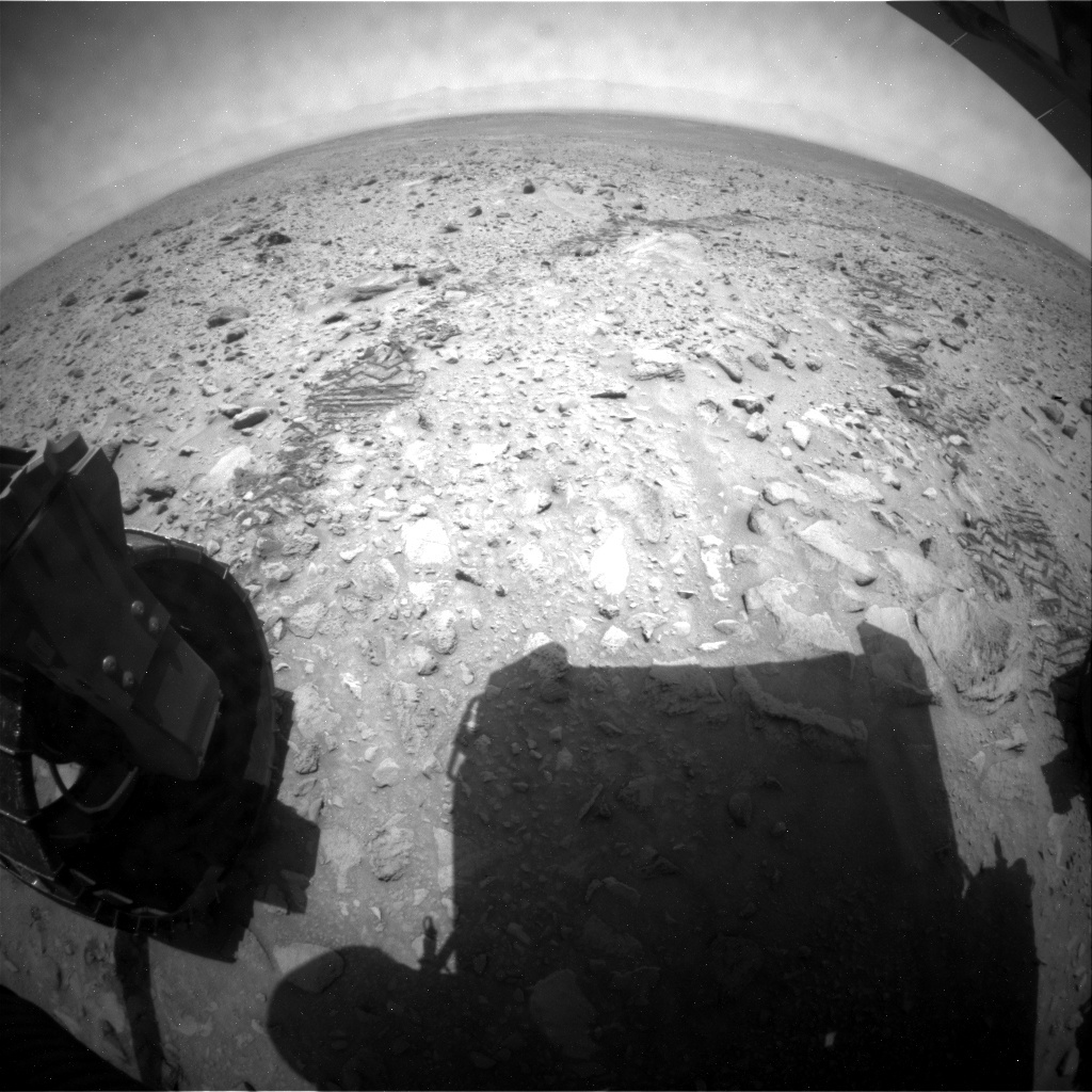 NASA's Mars rover Curiosity acquired this image using its Rear Hazard Avoidance Cameras (Rear Hazcams) on Sol 694