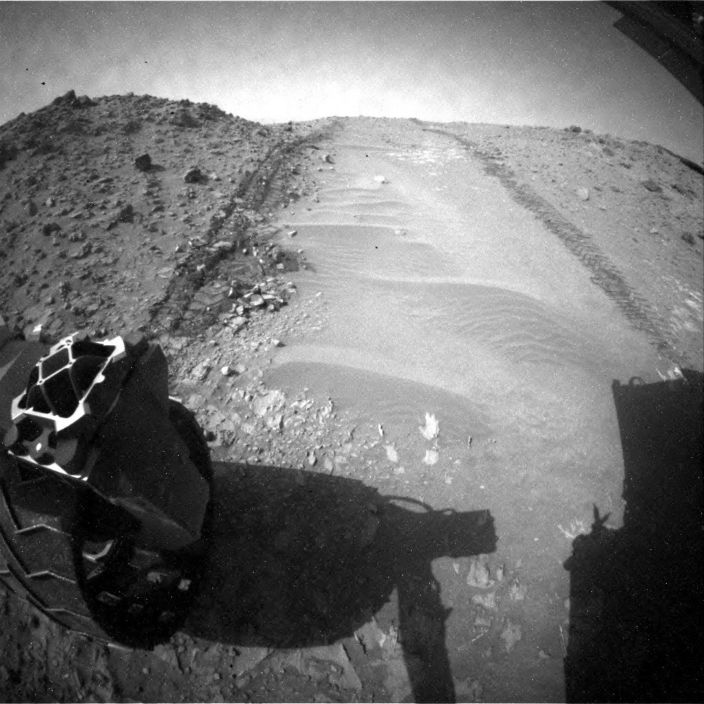 NASA's Mars rover Curiosity acquired this image using its Rear Hazard Avoidance Cameras (Rear Hazcams) on Sol 706