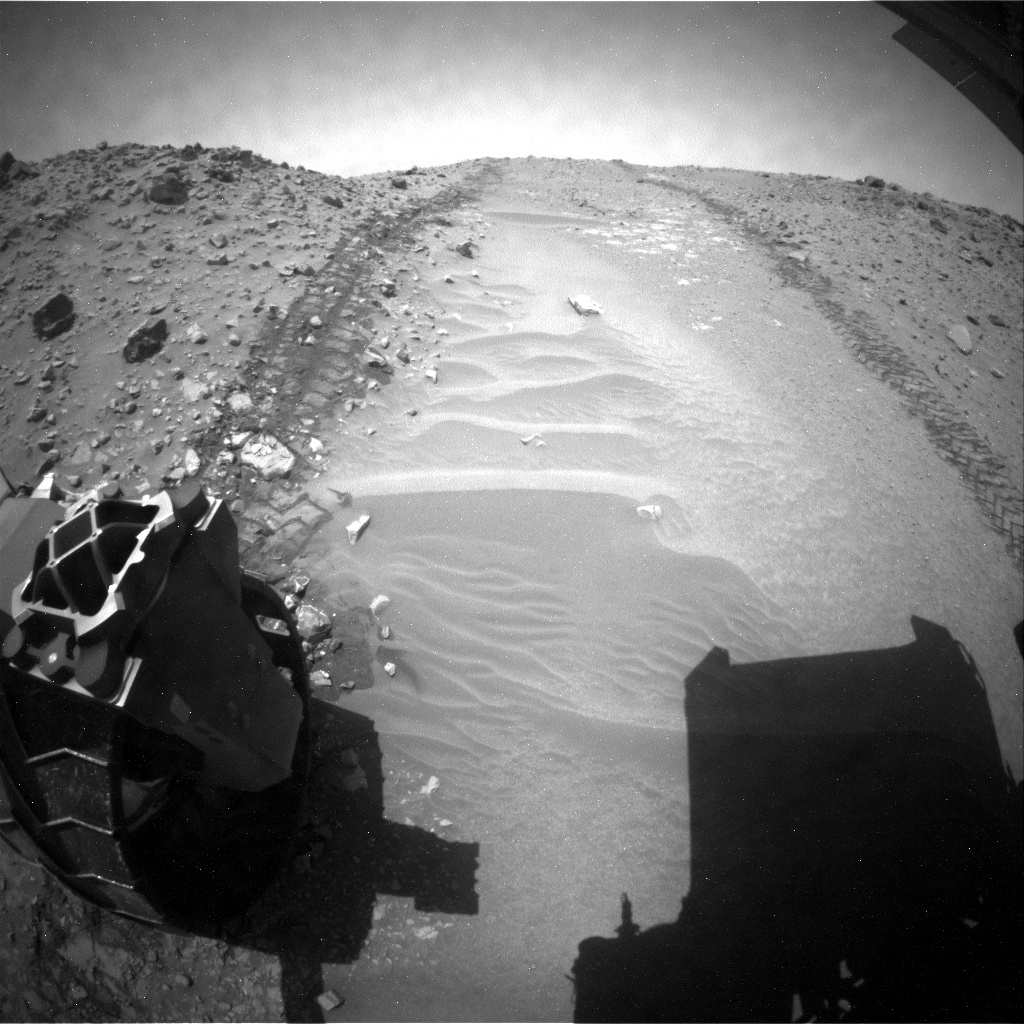 NASA's Mars rover Curiosity acquired this image using its Rear Hazard Avoidance Cameras (Rear Hazcams) on Sol 709