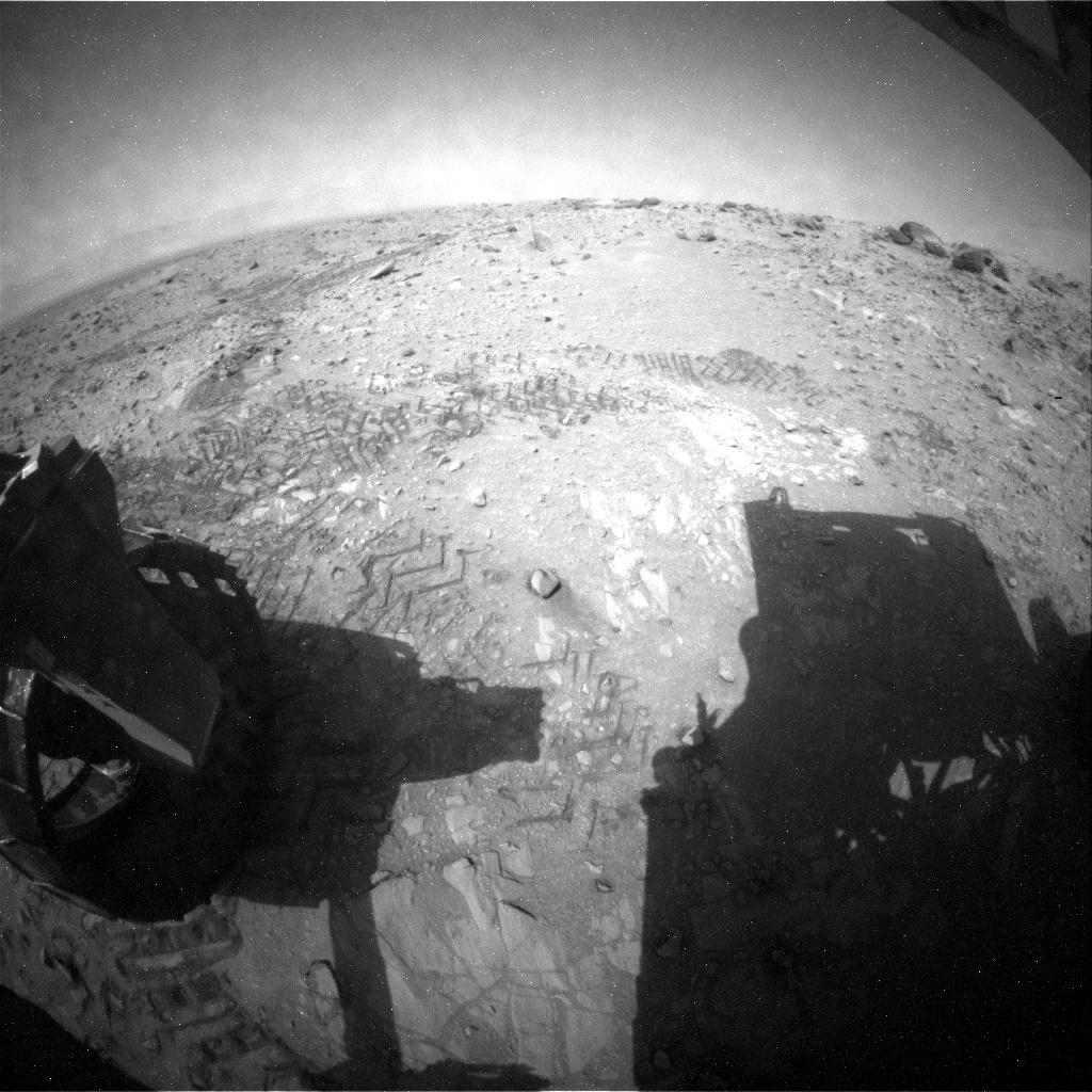 NASA's Mars rover Curiosity acquired this image using its Rear Hazard Avoidance Cameras (Rear Hazcams) on Sol 724