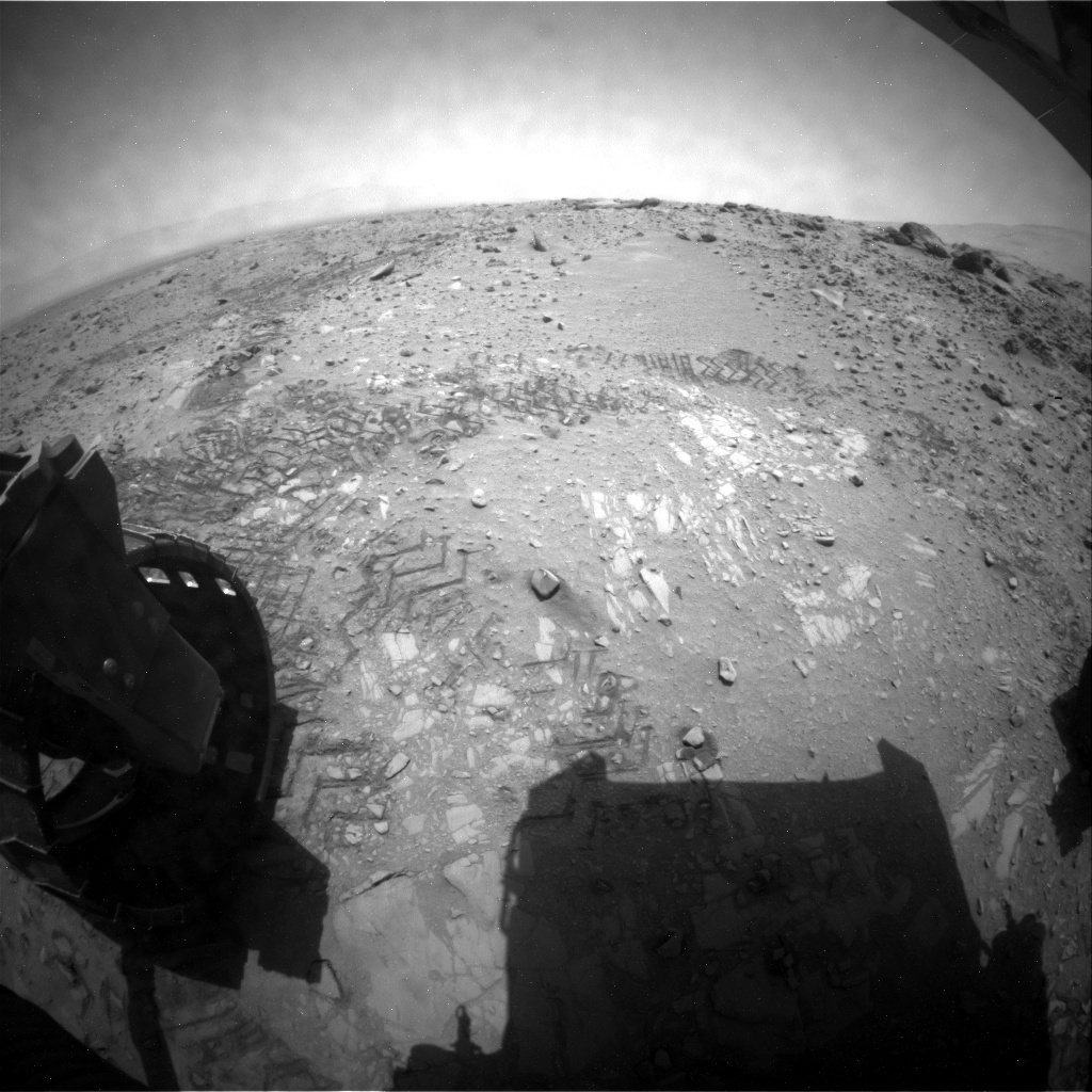 NASA's Mars rover Curiosity acquired this image using its Rear Hazard Avoidance Cameras (Rear Hazcams) on Sol 726