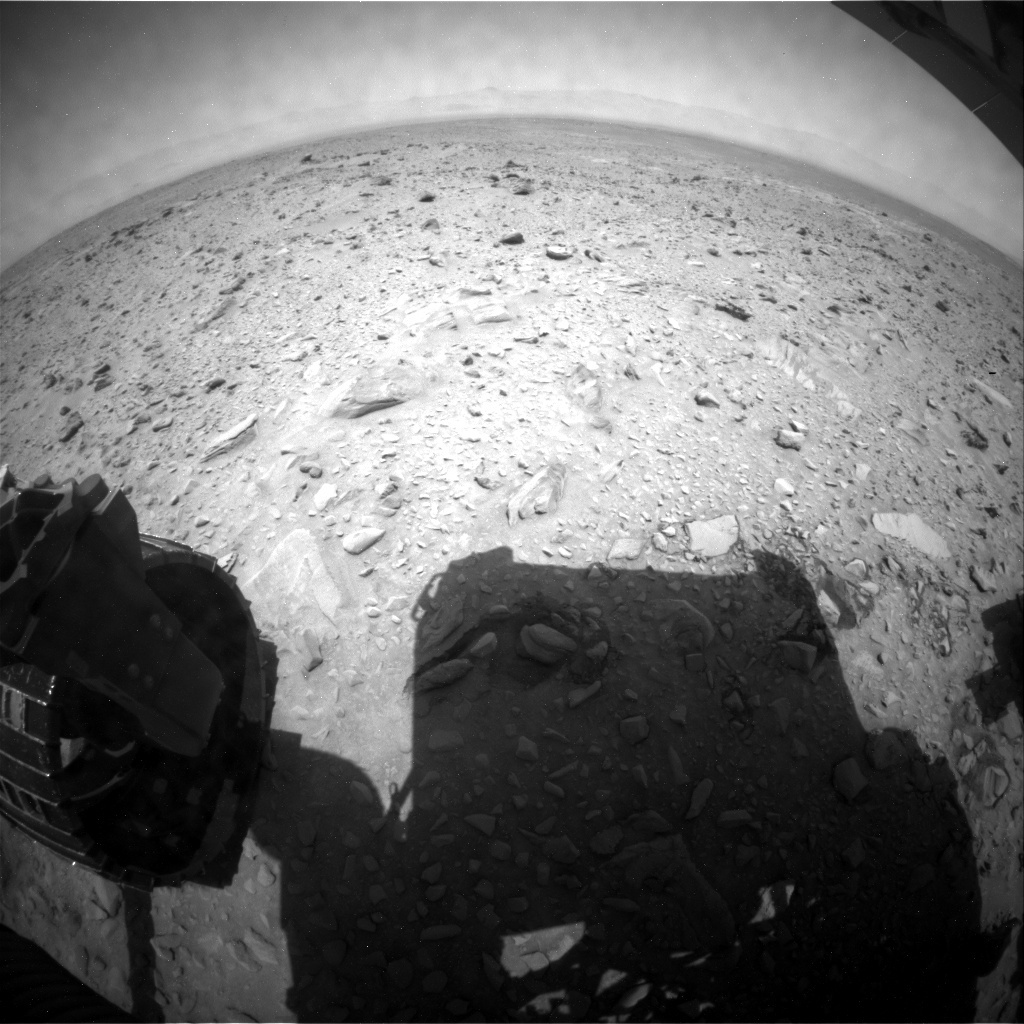 NASA's Mars rover Curiosity acquired this image using its Rear Hazard Avoidance Cameras (Rear Hazcams) on Sol 730