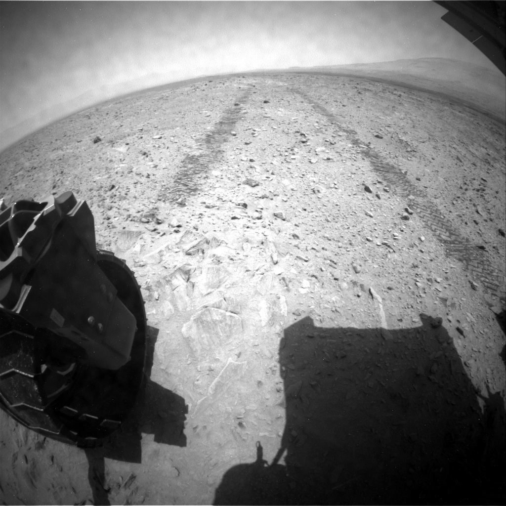NASA's Mars rover Curiosity acquired this image using its Rear Hazard Avoidance Cameras (Rear Hazcams) on Sol 739