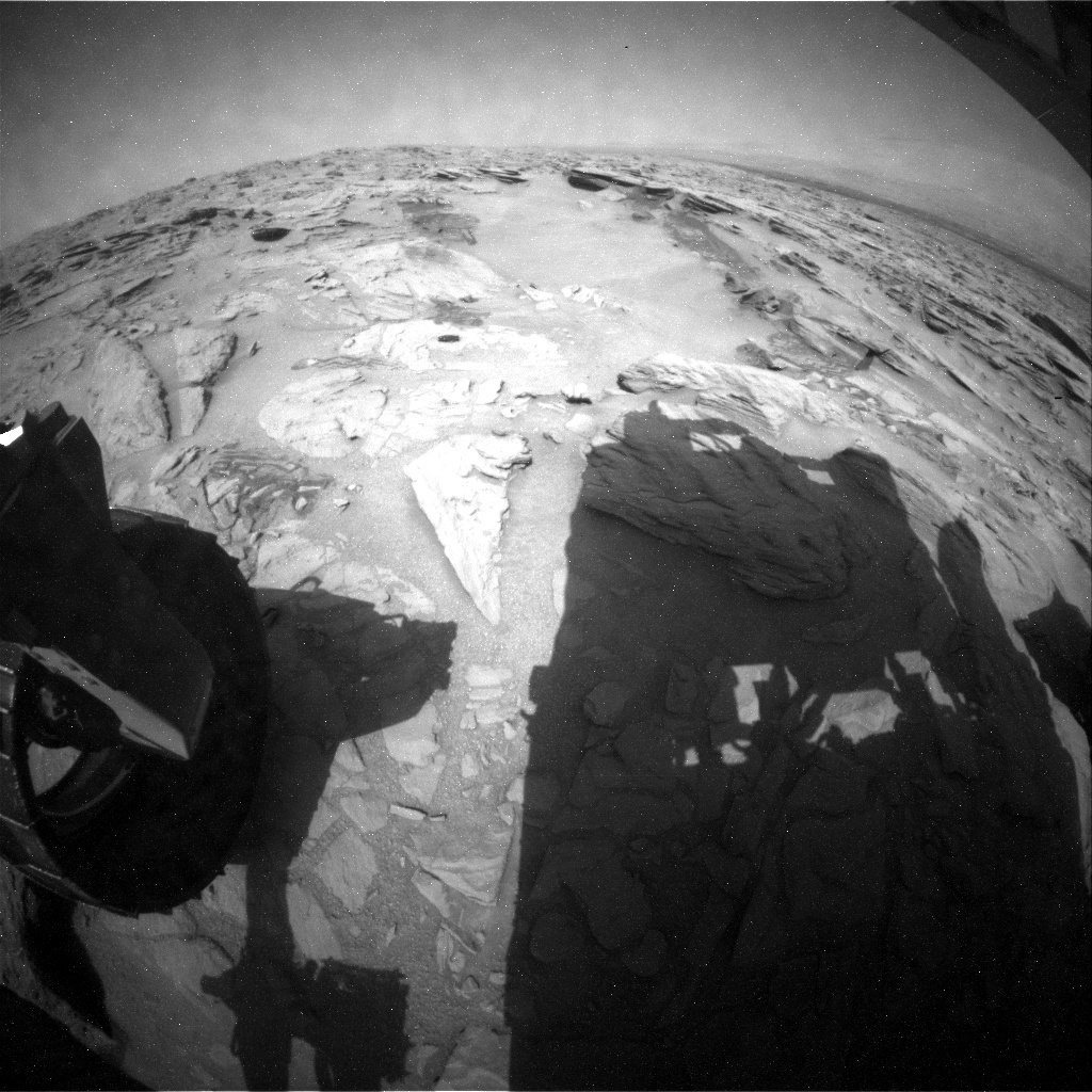NASA's Mars rover Curiosity acquired this image using its Rear Hazard Avoidance Cameras (Rear Hazcams) on Sol 742