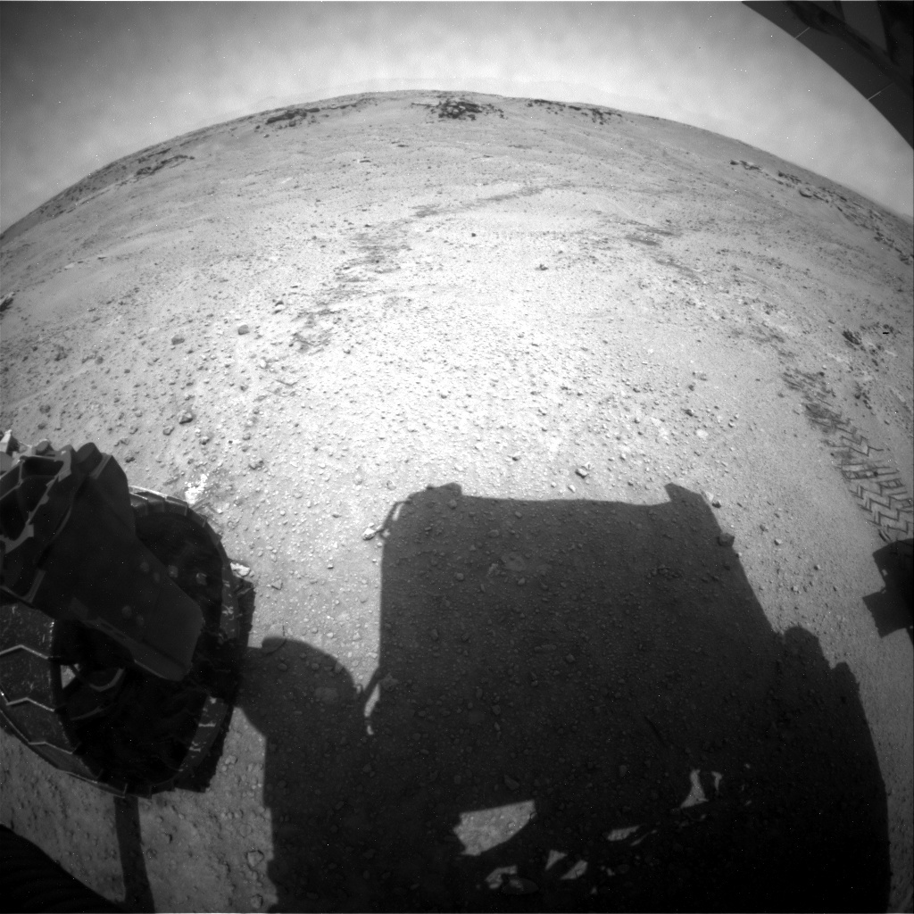 NASA's Mars rover Curiosity acquired this image using its Rear Hazard Avoidance Cameras (Rear Hazcams) on Sol 751