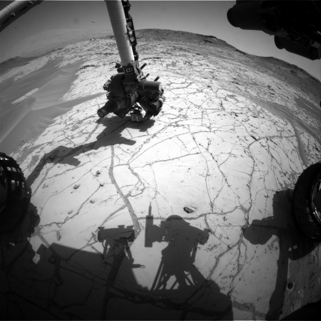 Nasa's Mars rover Curiosity acquired this image using its Front Hazard Avoidance Camera (Front Hazcam) on Sol 755, at drive 1020, site number 42