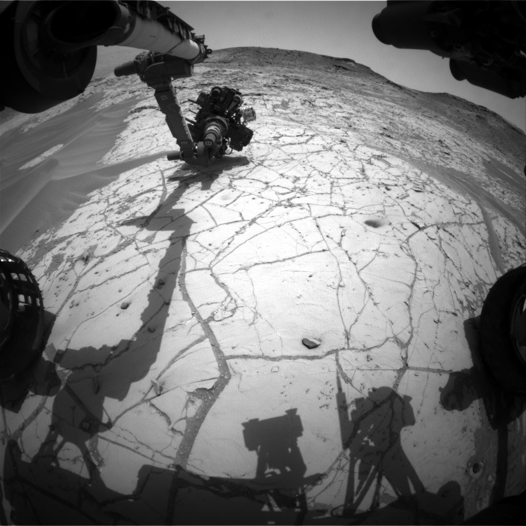 Nasa's Mars rover Curiosity acquired this image using its Front Hazard Avoidance Camera (Front Hazcam) on Sol 767, at drive 1020, site number 42