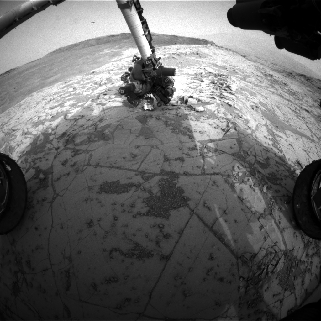 NASA's Mars rover Curiosity acquired this image using its Front Hazard Avoidance Cameras (Front Hazcams) on Sol 810