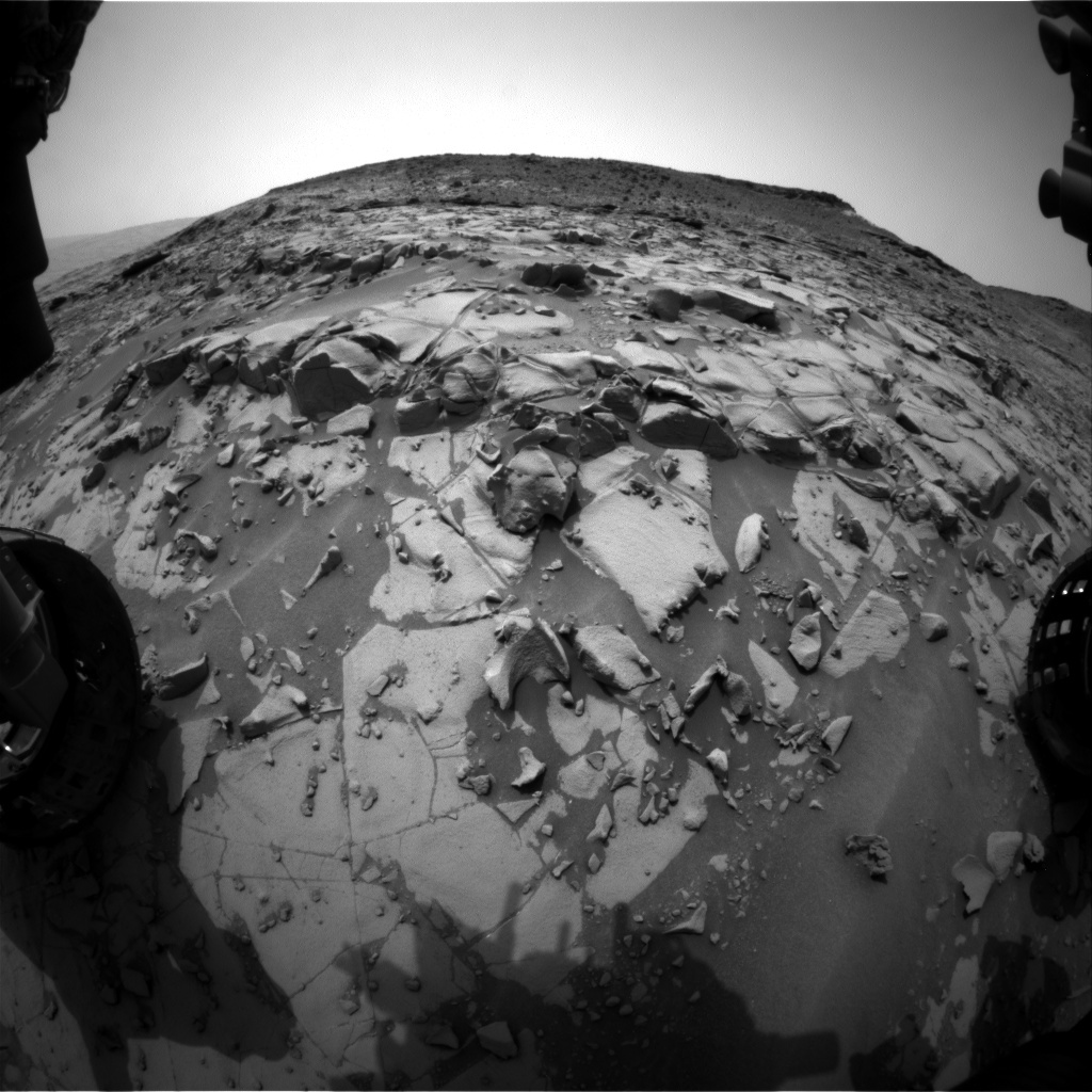 NASA's Mars rover Curiosity acquired this image using its Front Hazard Avoidance Cameras (Front Hazcams) on Sol 823