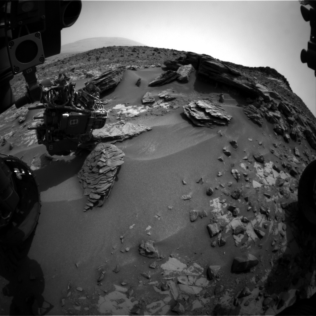 NASA's Mars rover Curiosity acquired this image using its Front Hazard Avoidance Cameras (Front Hazcams) on Sol 844