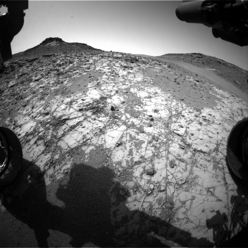 NASA's Mars rover Curiosity acquired this image using its Front Hazard Avoidance Cameras (Front Hazcams) on Sol 910