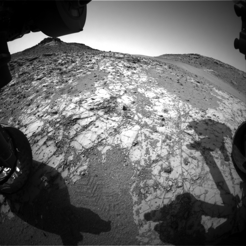 Nasa's Mars rover Curiosity acquired this image using its Front Hazard Avoidance Camera (Front Hazcam) on Sol 921, at drive 450, site number 45