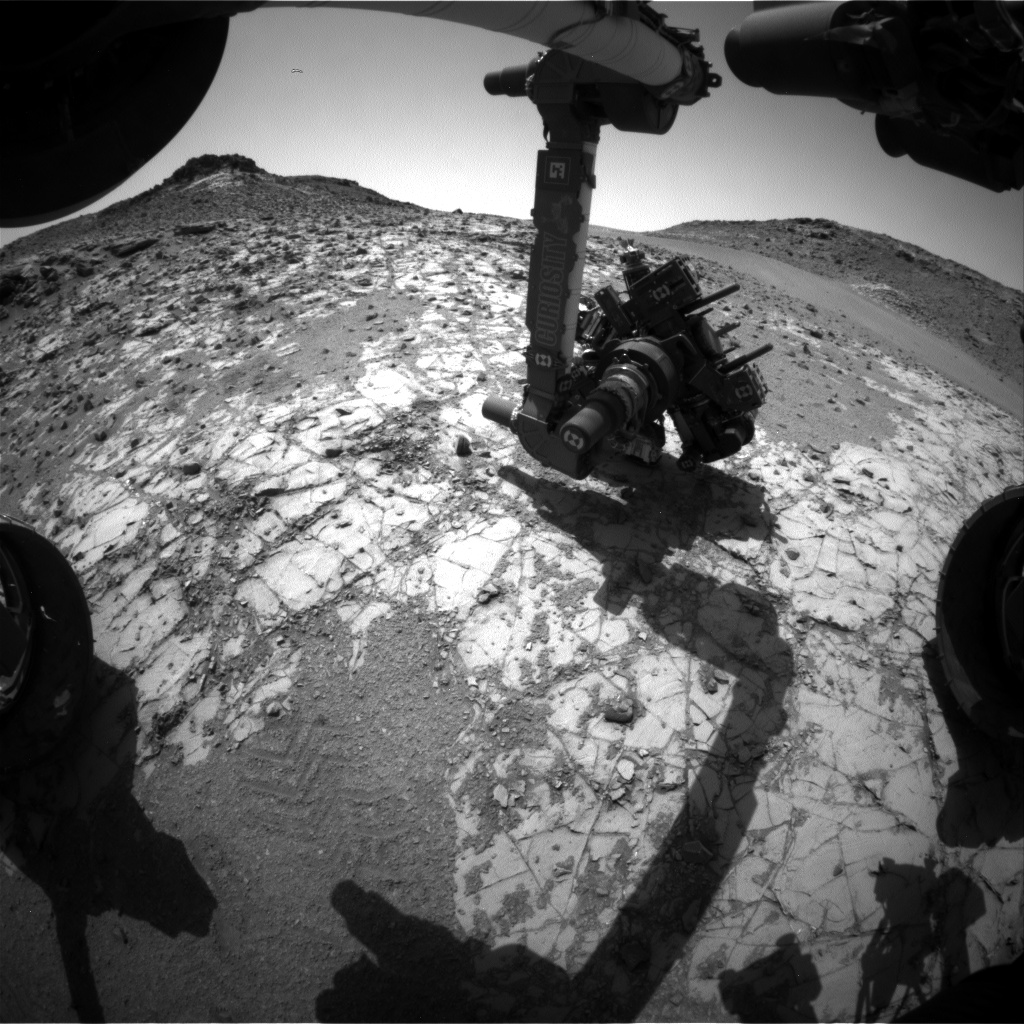 Nasa's Mars rover Curiosity acquired this image using its Front Hazard Avoidance Camera (Front Hazcam) on Sol 923, at drive 450, site number 45