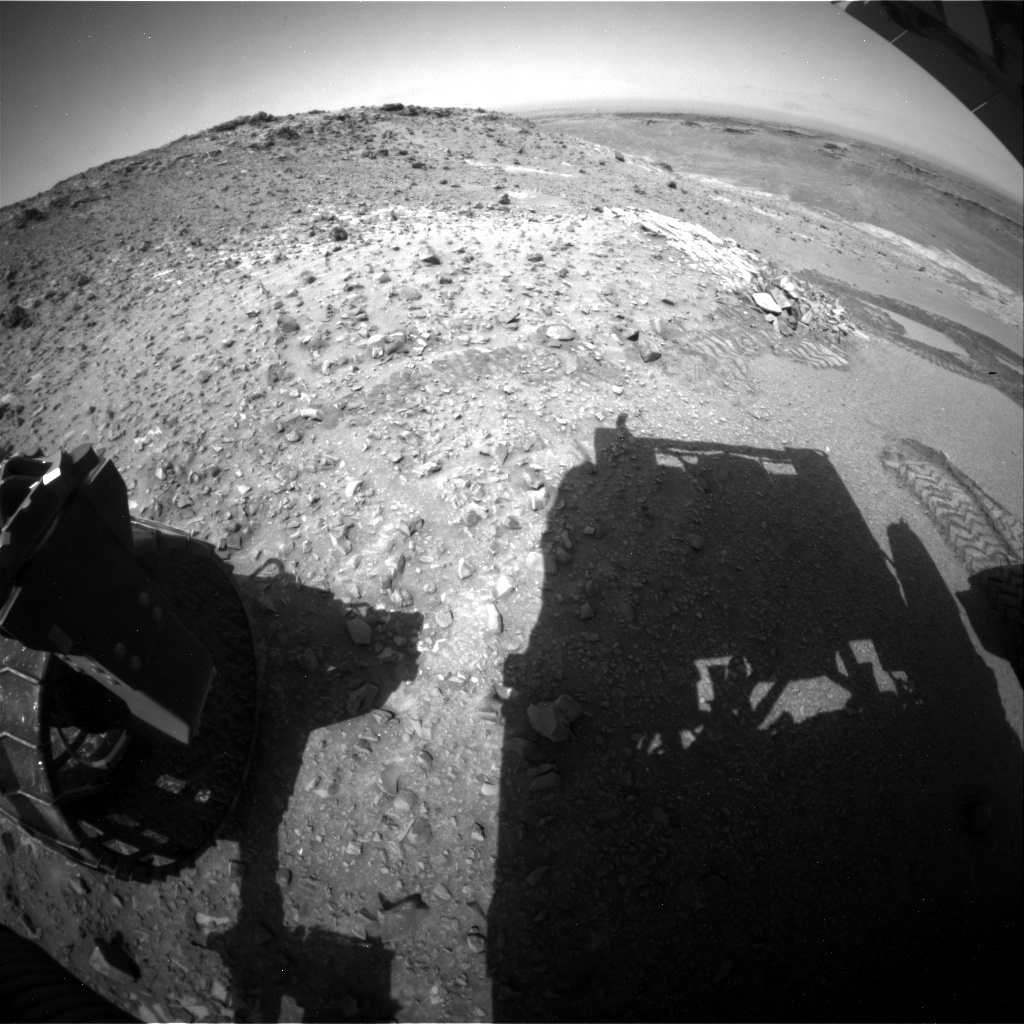 NASA's Mars rover Curiosity acquired this image using its Rear Hazard Avoidance Cameras (Rear Hazcams) on Sol 925