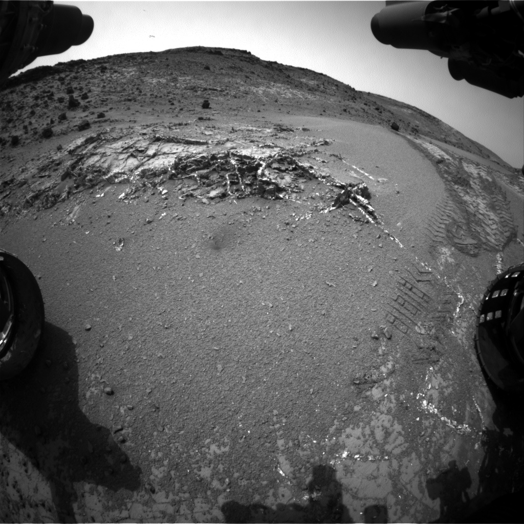 Nasa's Mars rover Curiosity acquired this image using its Front Hazard Avoidance Camera (Front Hazcam) on Sol 945, at drive 1108, site number 45