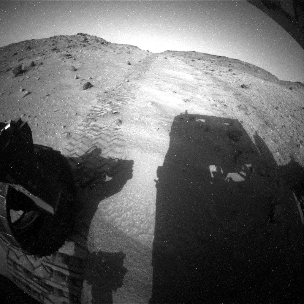 NASA's Mars rover Curiosity acquired this image using its Rear Hazard Avoidance Cameras (Rear Hazcams) on Sol 951