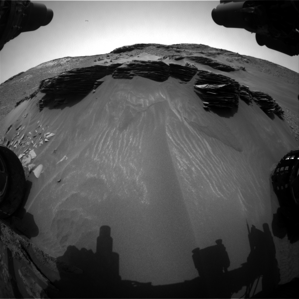 Nasa's Mars rover Curiosity acquired this image using its Front Hazard Avoidance Camera (Front Hazcam) on Sol 973, at drive 598, site number 47