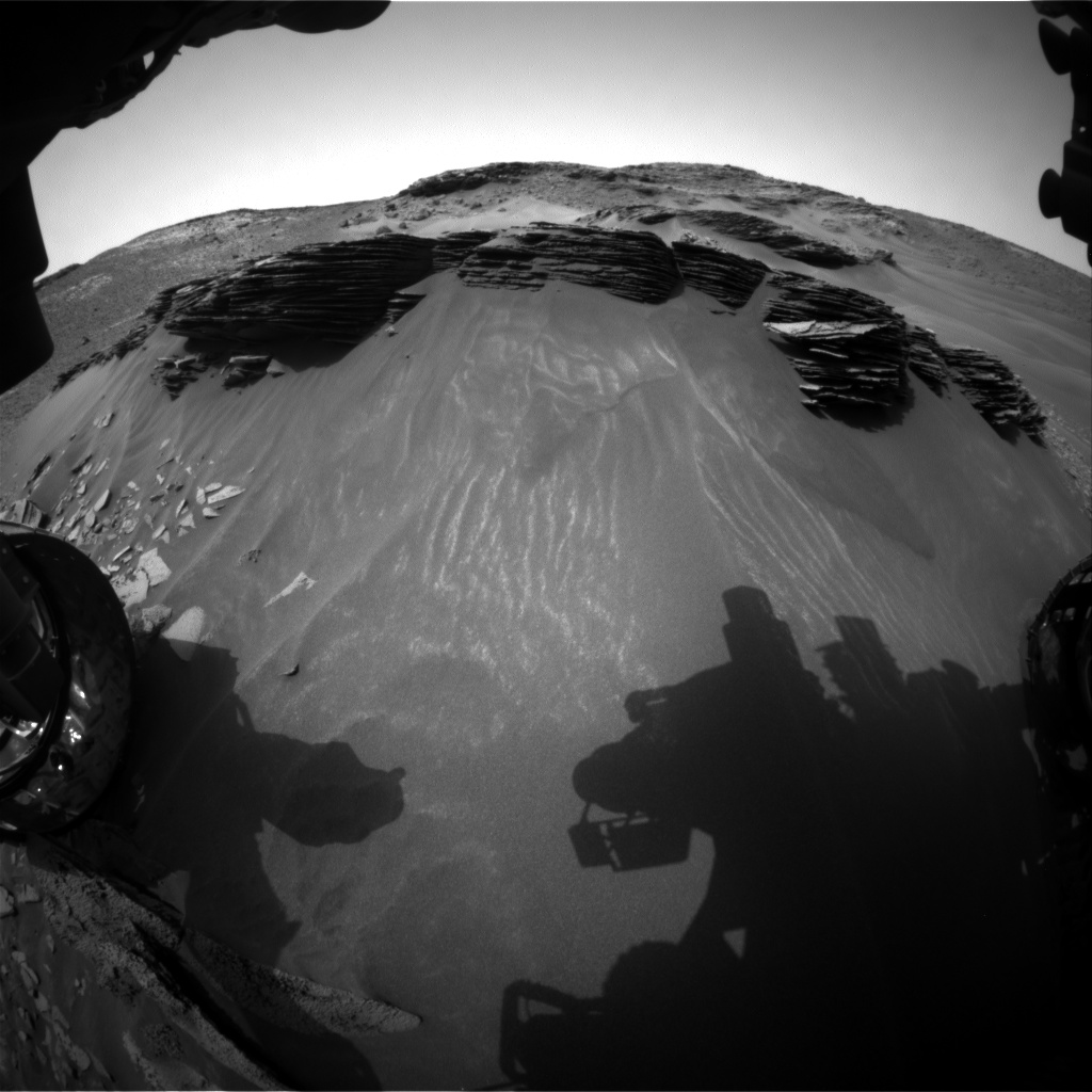 Nasa's Mars rover Curiosity acquired this image using its Front Hazard Avoidance Camera (Front Hazcam) on Sol 974, at drive 598, site number 47