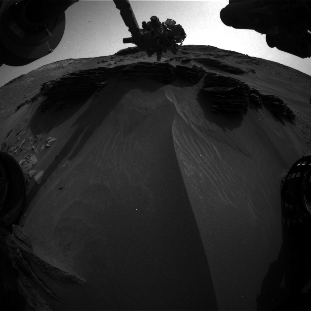 Nasa's Mars rover Curiosity acquired this image using its Front Hazard Avoidance Camera (Front Hazcam) on Sol 975, at drive 598, site number 47