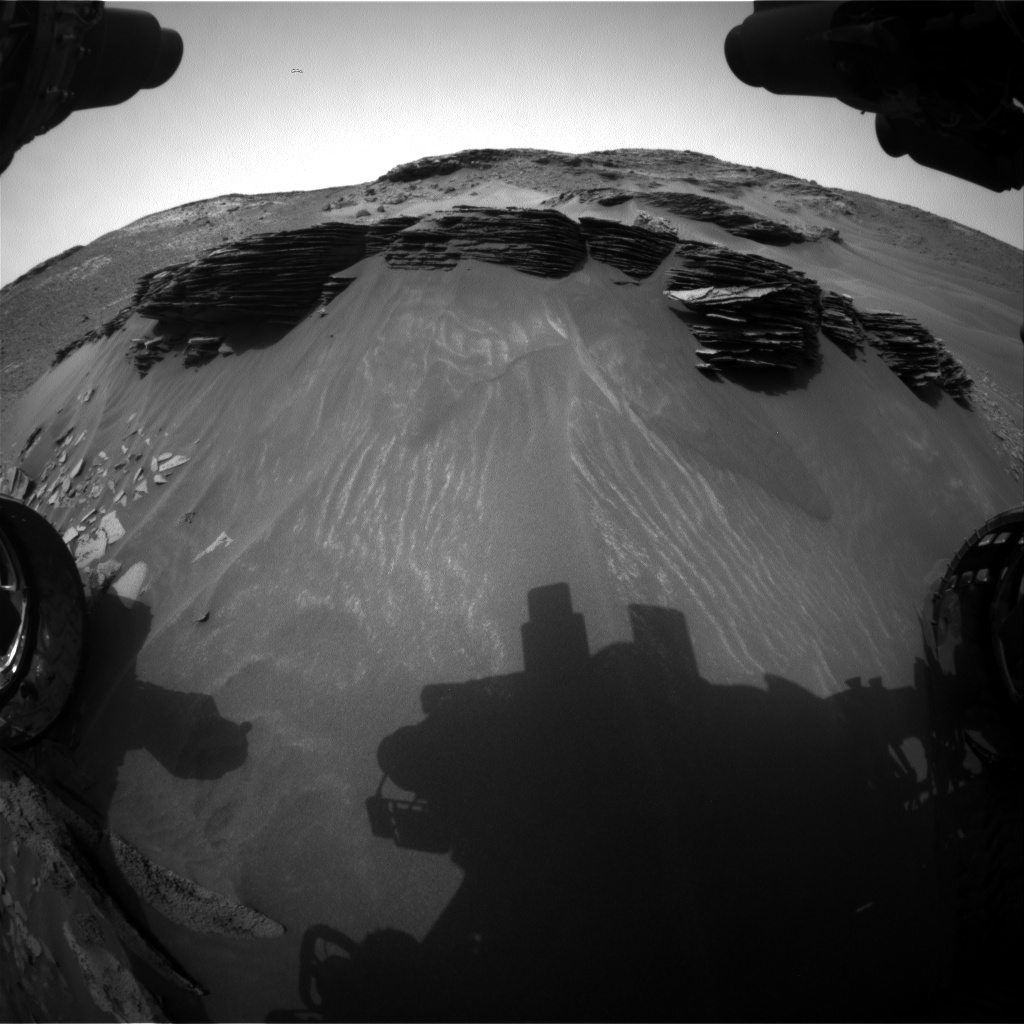 Nasa's Mars rover Curiosity acquired this image using its Front Hazard Avoidance Camera (Front Hazcam) on Sol 976, at drive 598, site number 47