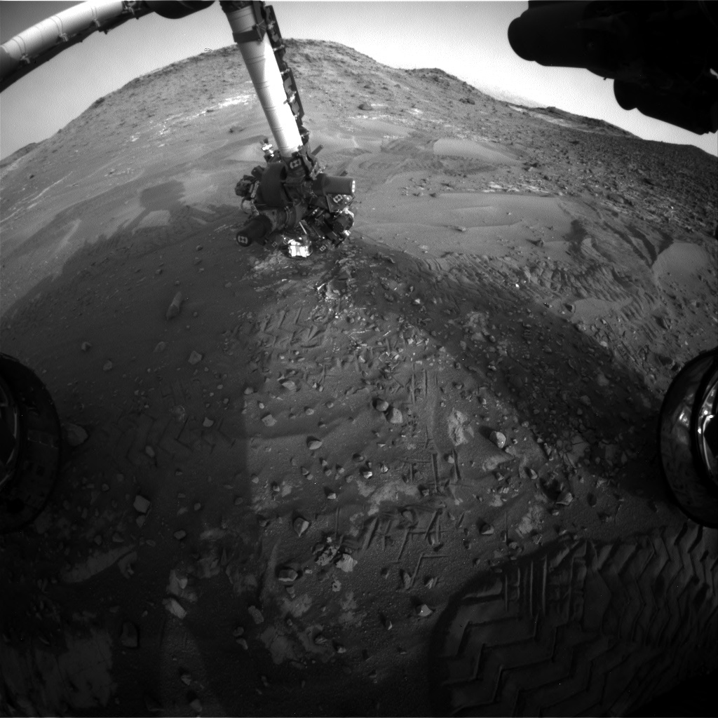 NASA's Mars rover Curiosity acquired this image using its Front Hazard Avoidance Cameras (Front Hazcams) on Sol 989