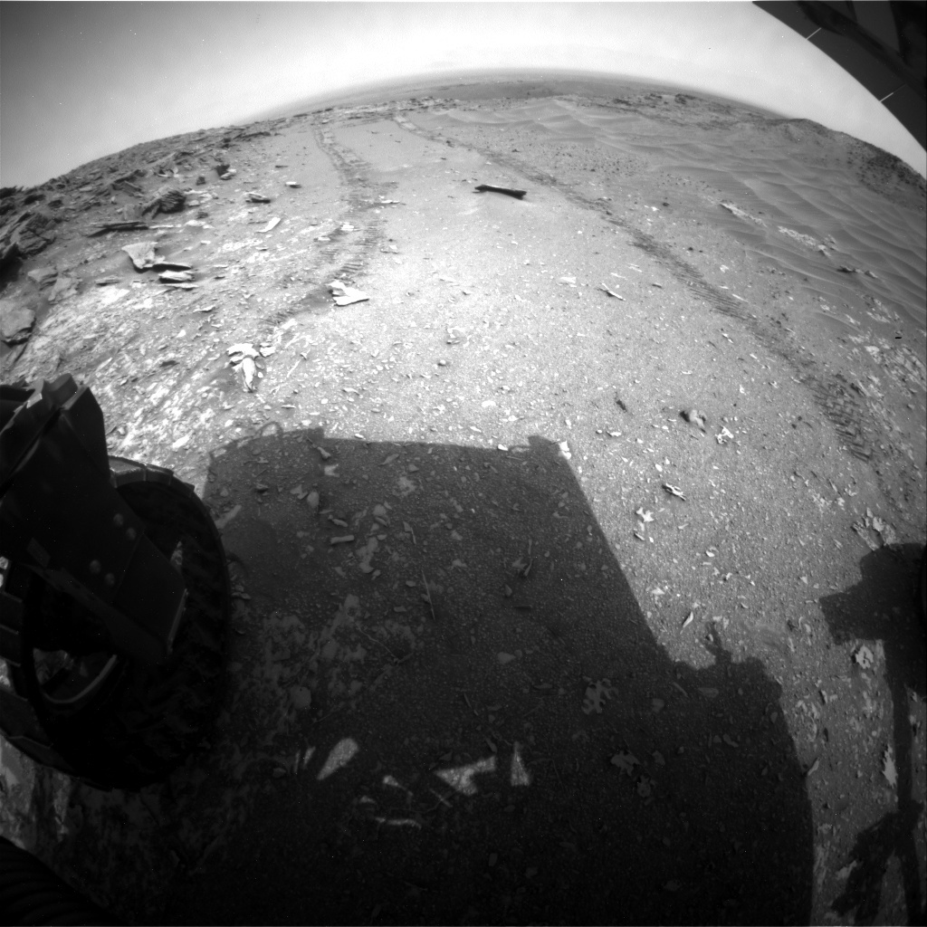 NASA's Mars rover Curiosity acquired this image using its Rear Hazard Avoidance Cameras (Rear Hazcams) on Sol 996