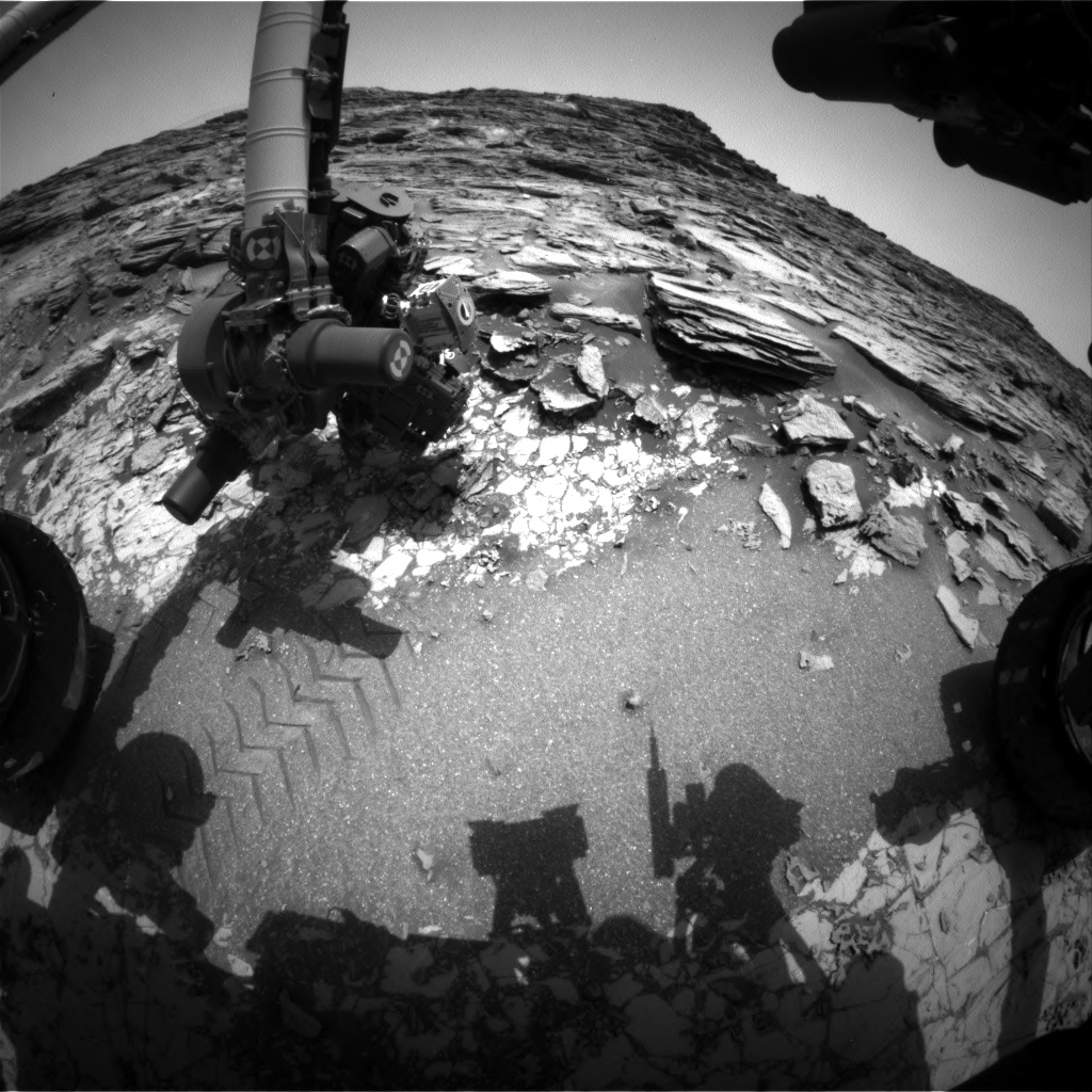 Nasa's Mars rover Curiosity acquired this image using its Front Hazard Avoidance Camera (Front Hazcam) on Sol 999, at drive 1570, site number 48