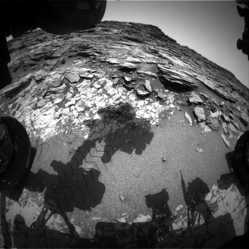 NASA's Mars rover Curiosity acquired this image using its Front Hazard Avoidance Cameras (Front Hazcams) on Sol 1002
