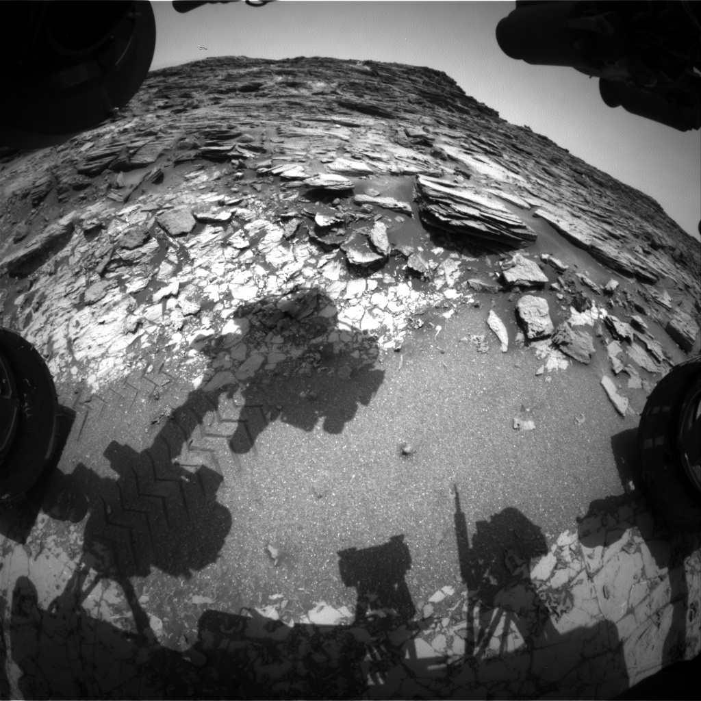 Nasa's Mars rover Curiosity acquired this image using its Front Hazard Avoidance Camera (Front Hazcam) on Sol 1002, at drive 1570, site number 48