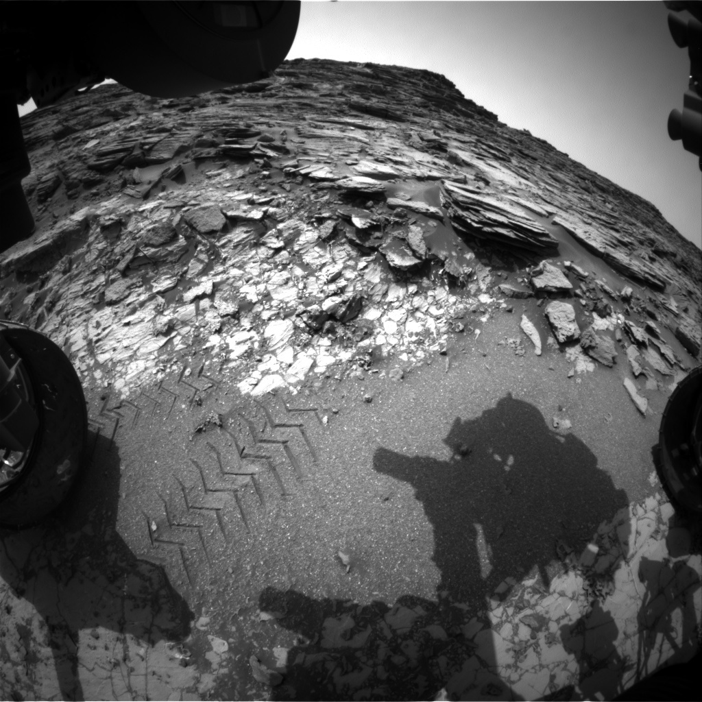NASA's Mars rover Curiosity acquired this image using its Front Hazard Avoidance Cameras (Front Hazcams) on Sol 1004