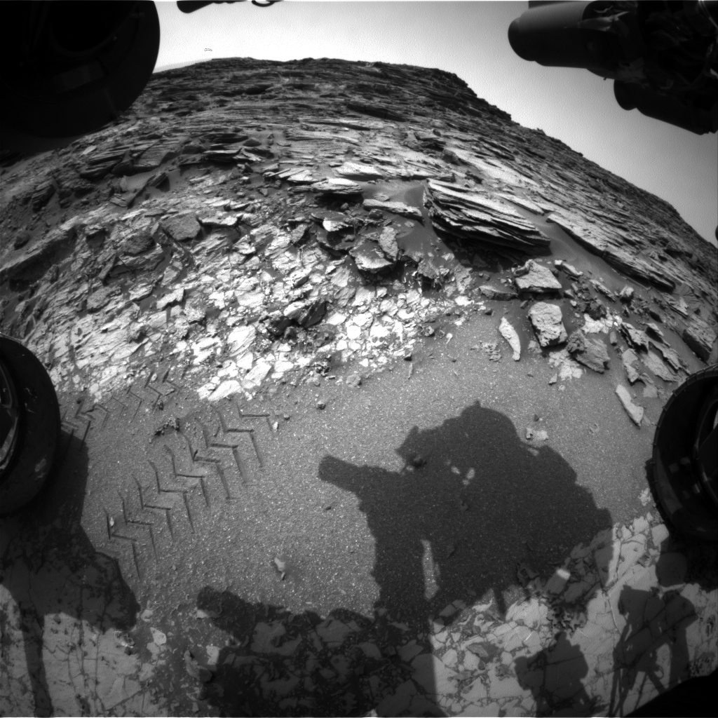 Nasa's Mars rover Curiosity acquired this image using its Front Hazard Avoidance Camera (Front Hazcam) on Sol 1004, at drive 1570, site number 48
