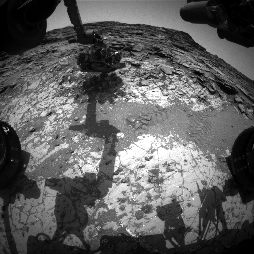 Nasa's Mars rover Curiosity acquired this image using its Front Hazard Avoidance Camera (Front Hazcam) on Sol 1033, at drive 1600, site number 48