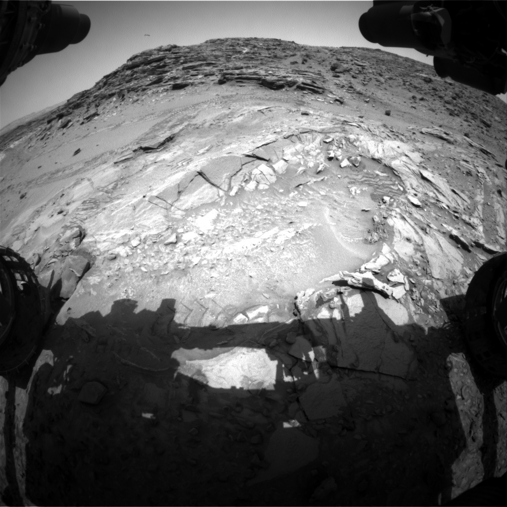 NASA's Mars rover Curiosity acquired this image using its Front Hazard Avoidance Cameras (Front Hazcams) on Sol 1043